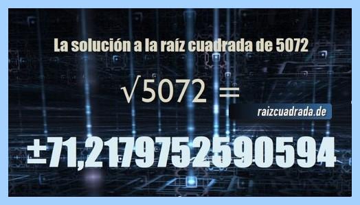 Resultado que se obtiene en la resolución operación matemática raíz cuadrada de 5072