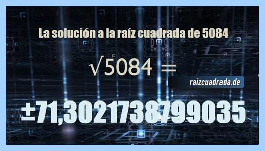 Resultado obtenido en la raíz cuadrada de 5084