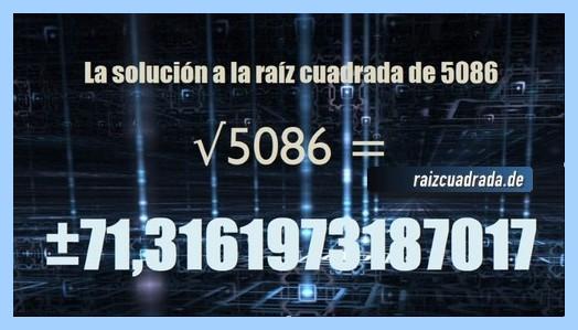 Solución finalmente hallada en la resolución raíz cuadrada del número 5086