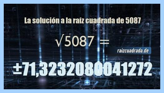 Solución conseguida en la operación matemática raíz de 5087