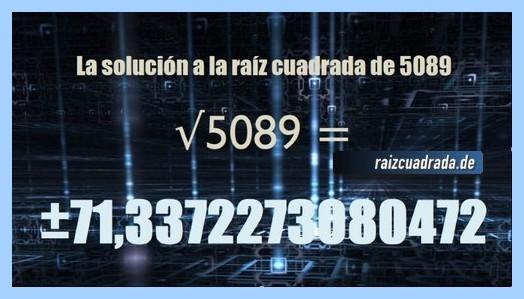 Número conseguido en la raíz cuadrada del número 5089