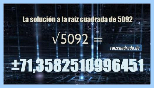Resultado que se obtiene en la operación raíz cuadrada de 5092