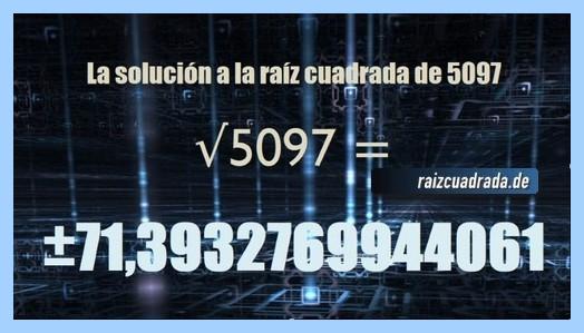 Solución finalmente hallada en la raíz del número 5097