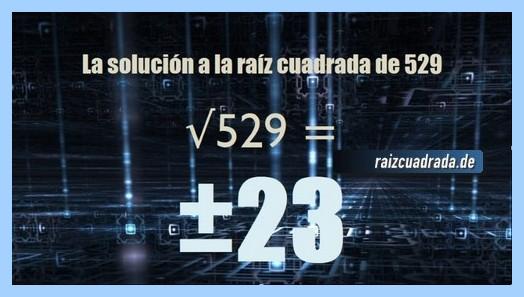 Solución finalmente hallada en la resolución operación raíz cuadrada de 529