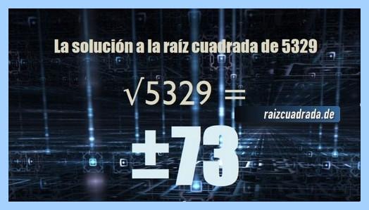 Resultado finalmente hallado en la resolución operación matemática raíz cuadrada del número 5329