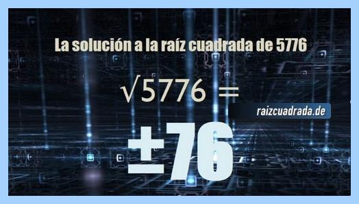 Solución final de la resolución operación matemática raíz de 5776