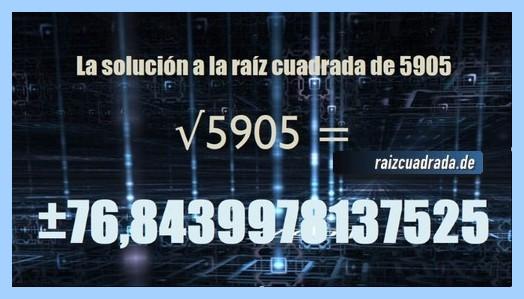 Número final de la resolución operación matemática raíz del número 5905
