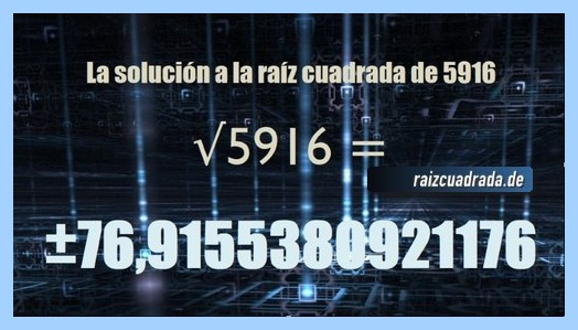 Número obtenido en la resolución operación matemática raíz cuadrada del número 5916