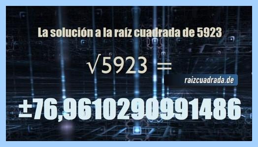 Resultado obtenido en la resolución operación raíz cuadrada del número 5923