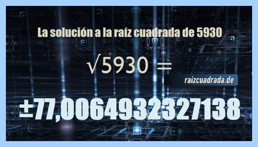 Número conseguido en la operación matemática raíz cuadrada del número 5930