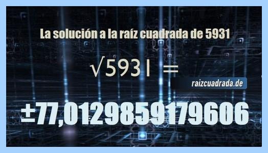 Solución que se obtiene en la operación matemática raíz cuadrada de 5931