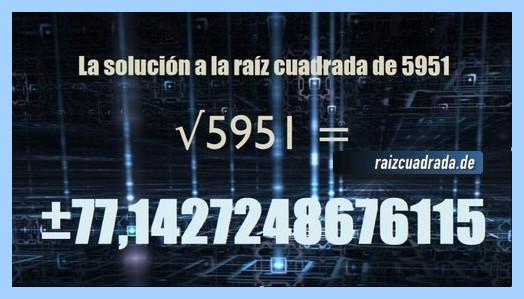 Solución que se obtiene en la resolución operación raíz cuadrada de 5951