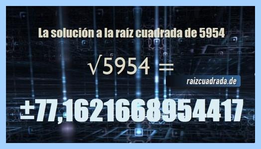 Solución obtenida en la resolución operación matemática raíz cuadrada del número 5954