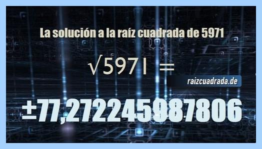 Solución obtenida en la resolución operación matemática raíz de 5971