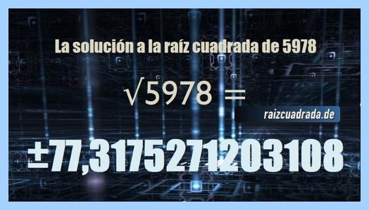 Solución obtenida en la resolución operación raíz de 5978