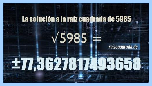Número finalmente hallado en la resolución operación raíz de 5985