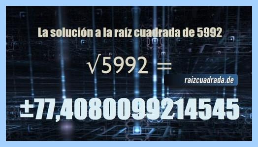 Solución que se obtiene en la resolución operación matemática raíz del número 5992