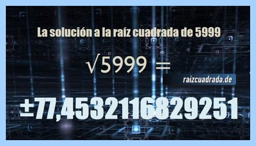 Número conseguido en la raíz del número 5999