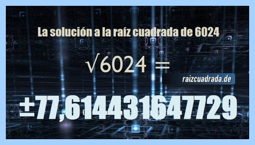 Solución obtenida en la resolución raíz cuadrada del número 6024