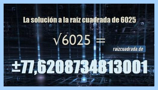 Número que se obtiene en la raíz de 6025