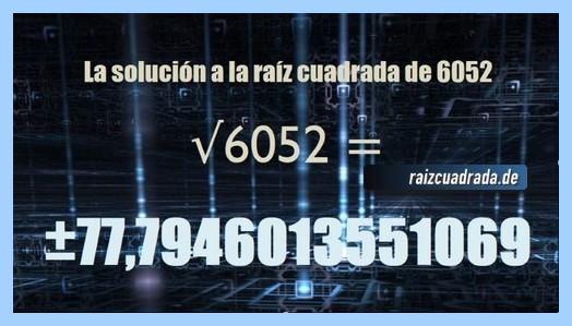 Resultado obtenido en la resolución operación matemática raíz del número 6052