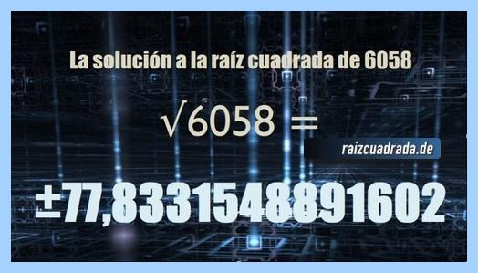 Número obtenido en la resolución raíz de 6058