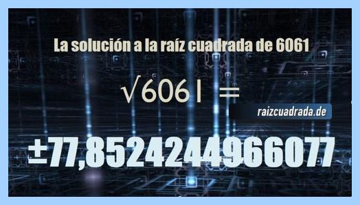 Número final de la resolución operación raíz del número 6061
