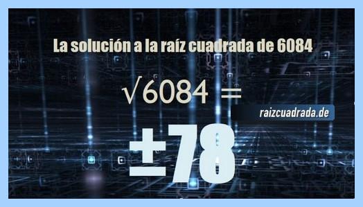 Resultado que se obtiene en la resolución raíz del número 6084