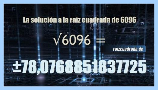 Solución final de la operación matemática raíz cuadrada del número 6096
