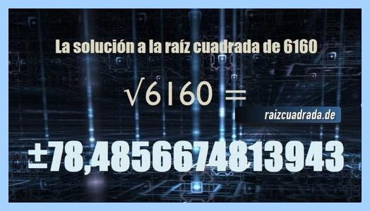 Solución que se obtiene en la resolución operación matemática raíz cuadrada del número 6160