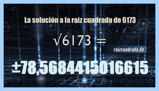 Solución obtenida en la resolución raíz cuadrada del número 6173
