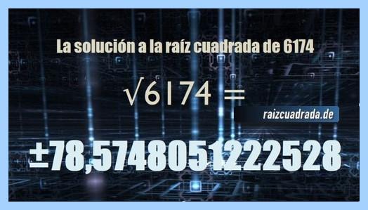 Solución conseguida en la resolución operación matemática raíz cuadrada del número 6174