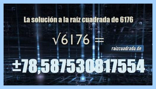 Número obtenido en la resolución operación matemática raíz cuadrada de 6176