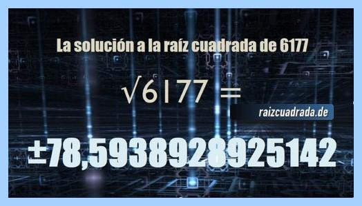 Solución finalmente hallada en la resolución operación raíz del número 6177