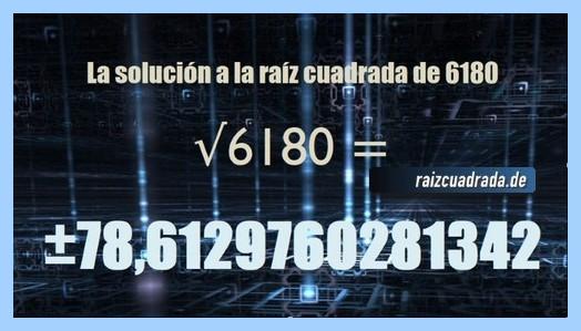 Número que se obtiene en la operación matemática raíz cuadrada de 6180