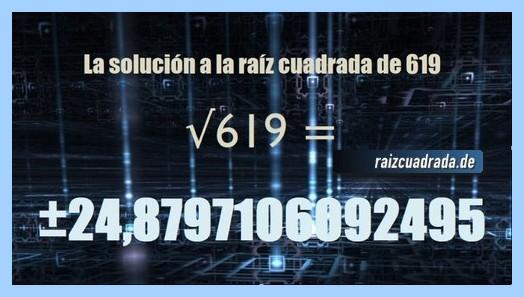 Solución obtenida en la resolución operación raíz cuadrada del número 619