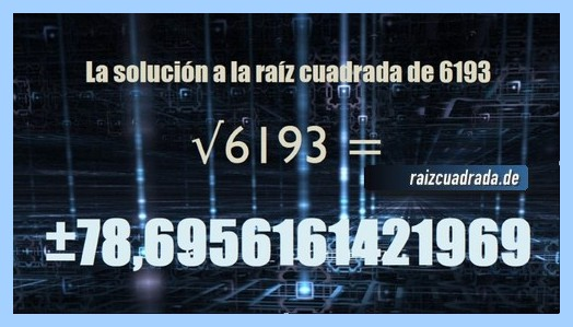 Solución conseguida en la raíz cuadrada de 6193