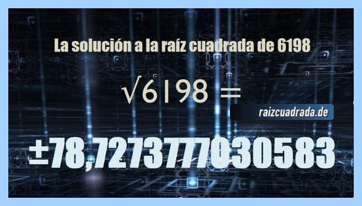 Solución conseguida en la resolución raíz cuadrada de 6198