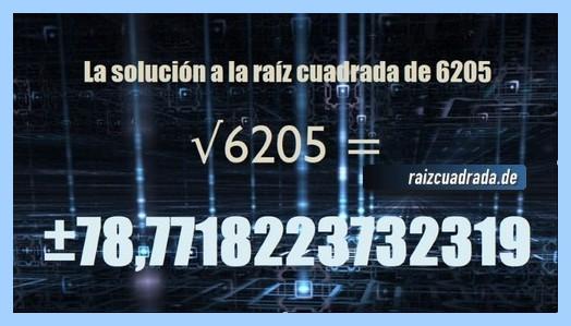 Solución finalmente hallada en la raíz del número 6205
