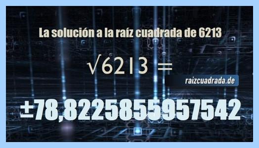 Solución obtenida en la resolución operación raíz cuadrada del número 6213