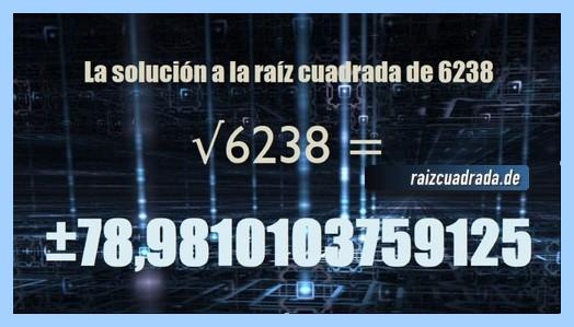 Solución obtenida en la resolución operación matemática raíz cuadrada de 6238