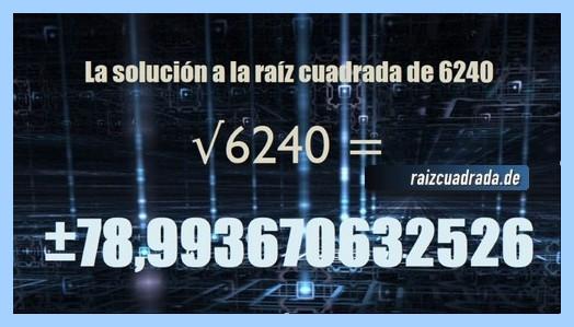 Número que se obtiene en la resolución operación raíz cuadrada del número 6240
