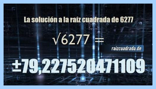 Solución conseguida en la resolución raíz cuadrada de 6277