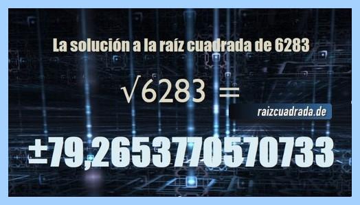 Solución conseguida en la resolución raíz cuadrada del número 6283
