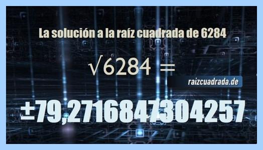 Solución conseguida en la raíz cuadrada de 6284