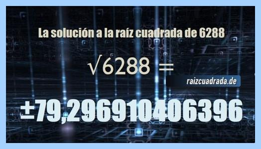 Resultado finalmente hallado en la operación matemática raíz del número 6288