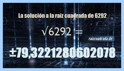 Número obtenido en la operación raíz de 6292