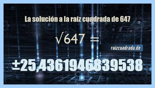 Número final de la raíz del número 647