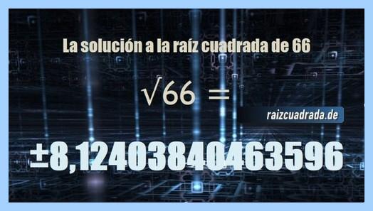 Solución que se obtiene en la resolución operación raíz cuadrada del número 66