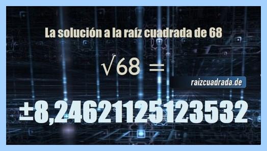 Solución finalmente hallada en la operación matemática raíz del número 68